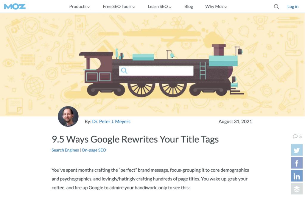 網頁標題被 Google 搜尋引擎改寫的十個原因
